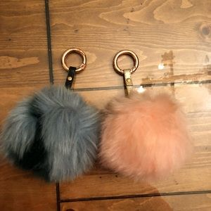 Free People (2) Pom Pom Key Chains for Purse